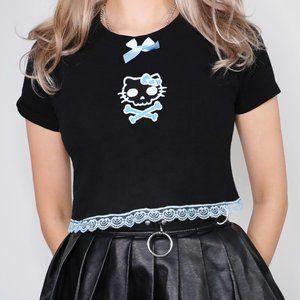 LYUU KITTY SKULL BLUE CROP TOP hello kitty goth